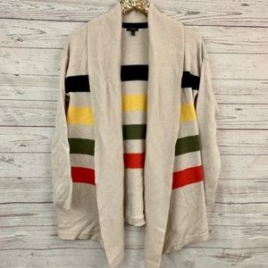 Talbots multi color striped open front cardigan